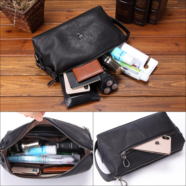 Cosmetic Case Men Genuine Leather Waterproof