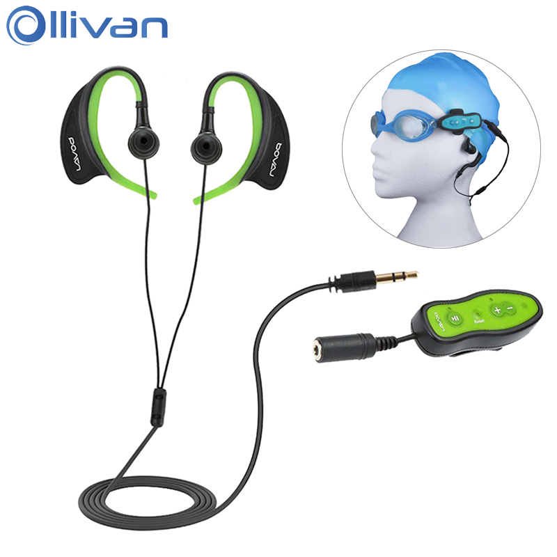 Ollivan IPX8 Waterproof Swimming 4G 8G MP3 Player Sports Earphone Underwater Diving Headphones Neckband Headset Music Player sh s5 rechargeable sports mp3 player headphones headset w fm tf black