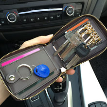 Fashion Men PU Leather Car Key Wallet, Coin Purse Wallet, multi-function, big capacity, personal design + gift box