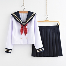 Japanese sailor suit female students loaded class service uniforms JK College Wind pleated skirt