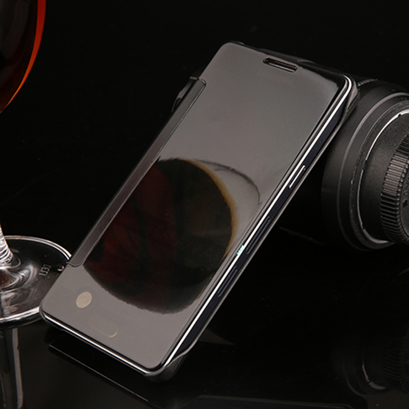 Luxury Flip PC Mirror Case for Samsung Galaxy A5 A7 2014 2016 A500 A510 Plating PC + Leather Cover Hard Plastic Back Cover Coque