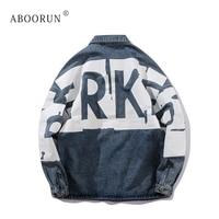ABOORUN Men's Hip Hop Denim Jacket Fashion Printed Jean Jacket Spring Autumn Streetwear Coat for Male x2338