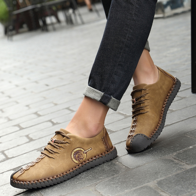 2017 New Fashion Comfortable Men Flat Shoes Superstar Lace-up Solid Genuine Leather Slip On Shoes Men Causal Breathable Loafers