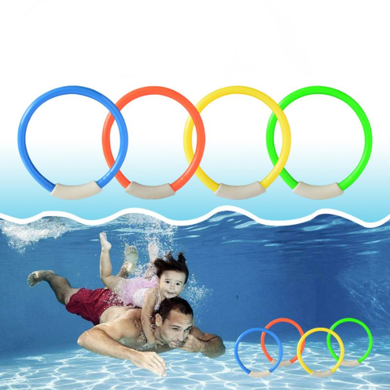 4Pcs/set Kids Toys Diving Rings Safe Children Bathing Swimming Pool Outdoor Water Entertain Diving Buoy Toy
