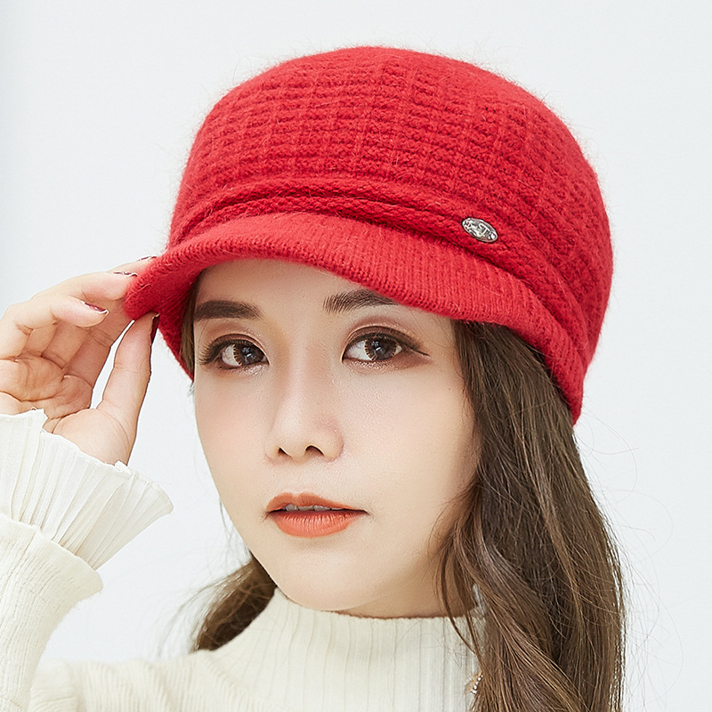 New Women Knitted Hats Autumn Winter Cap Fashion Warm Hat Female Lady in Women 39 s Visors from Apparel Accessories