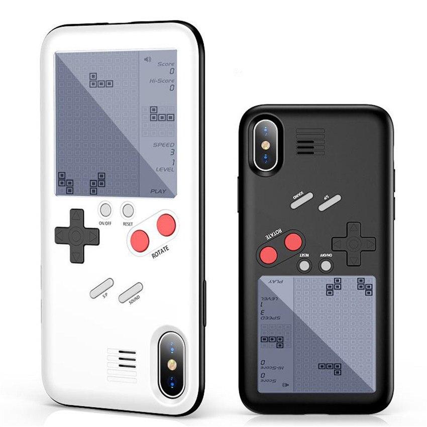 Rétro GB Gameboy Tetris Téléphone Cas pour iPhone X 8 Plus Doux TPU Peut Jouer Jeu Blokus Console Couverture Pour iPhone 7 6 6 s Plus Capa