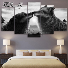 FULLCANG Black Wolf Kiss Diy Full Square Diamond Embroidery 5PCS Painting Cross Stitch Animals Mosaic Kits G602