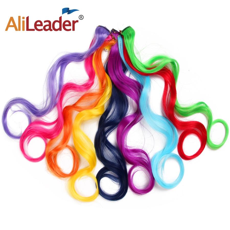 Alileader Длинные Синтетические волосы на зажиме для наращивания волос Омбре 20 дюймов 50 см красный синий розовый Радужный чистый цвет