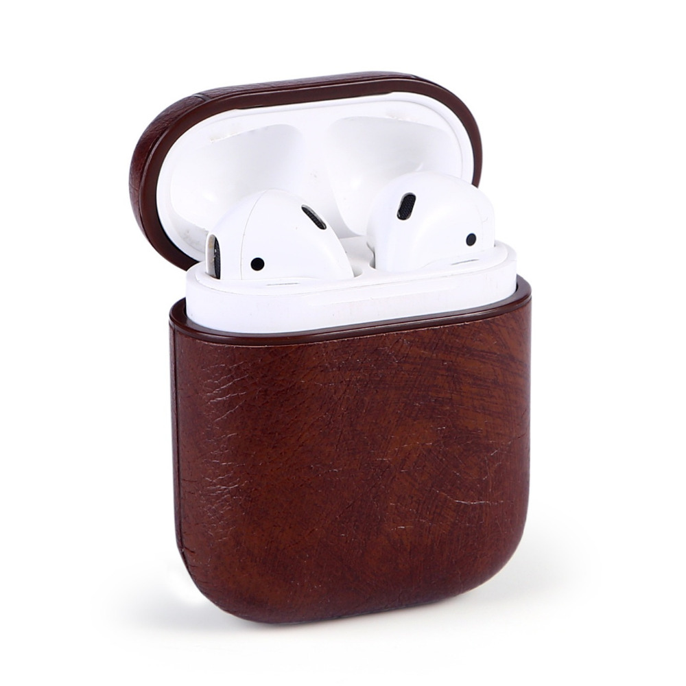 High Quality Genuine Leather Case For AirPods Vintage Matte Leather Hook Case For Apple Airpods Luxury Protective Storage Bag