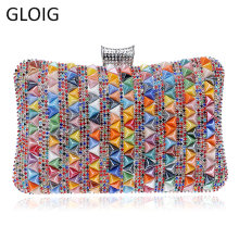 GLOIG Triangular Ceramic Diamonds Women Evening Bags Rhinestones Chain Shoulder Purse Bohemian Style Party Wedding Clutches(China)
