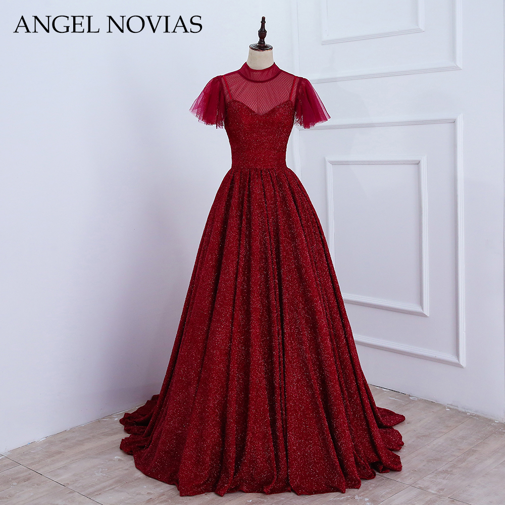 New Arrival Long Elegant Burgundy Woman   Evening     Dress   2018 High Neck Dubai Formal Arabic Party Prom Gown ANGEL NOVIAS