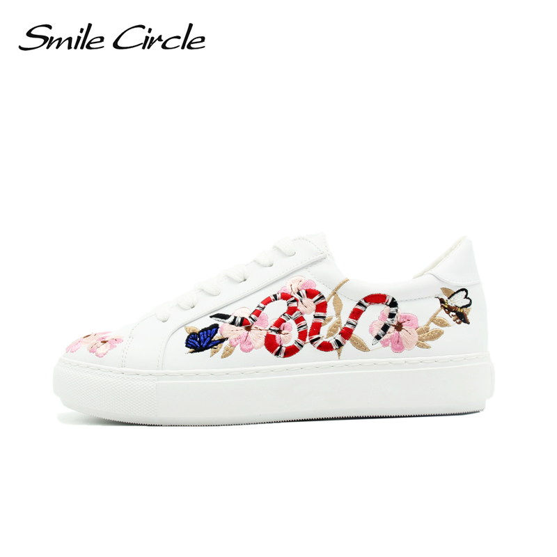 Smile Circle Spring Autumn Women Sneakers Fashion Embroidery Lace-up Flat Shoes Women Designer Flower birds Casual Platform Shoe smile circle spring autumn sneakers women lace up flat shoes for women fashion rhinestones casual platform shoes flat shoes girl