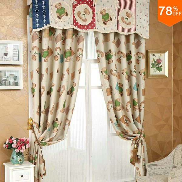 Lovely Bear Pattern The Classical Curtains Kids Garden Children Curtain Silky Drapery Quality Drapes Finished For Child In From Home