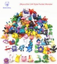 24pcs 144 Style Japanese Pocket Monster figures pokeball pikachu charizard figurine figuras doll lot for kids