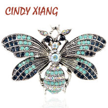 CINDY XIANG Vintage Rhinestone Vintage Big Bee Brooch Red Eye Insect Brooches Summer Coat Accessories Fashion Jewelry Good Gift(China)