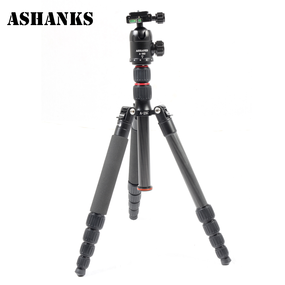ASHANKS A25C Professional Loading 10KG Carbon Fiber Portable Camera Tripod  with Ball Head and Carry Bag Better than Q666C ashanks mini carbon fiber handheld
