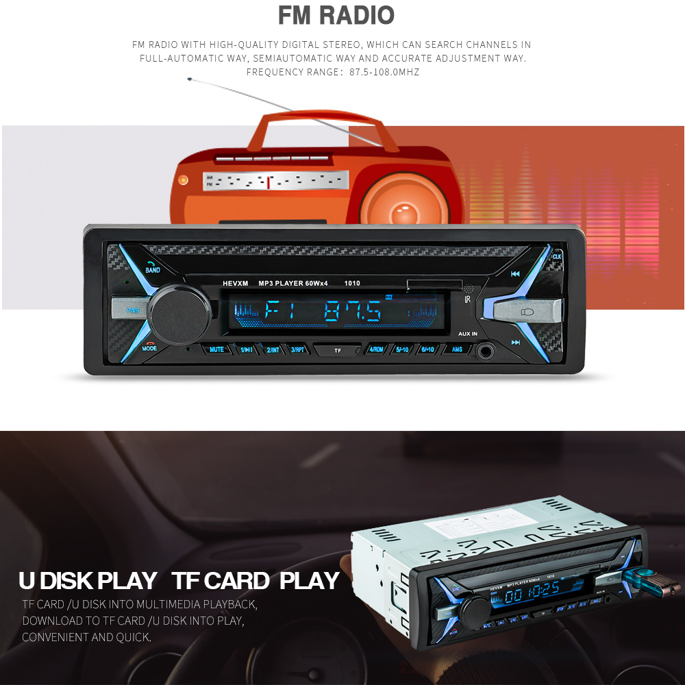 Image 5 - 12V Bluetooth MP3 Player Wireless Receiver Vehicle Mp3 Decoder Board Car FM Radio Module TF USB 3.5mm AUX Audio Adapter Car Kit-in Car MP3 Players from Automobiles & Motorcycles