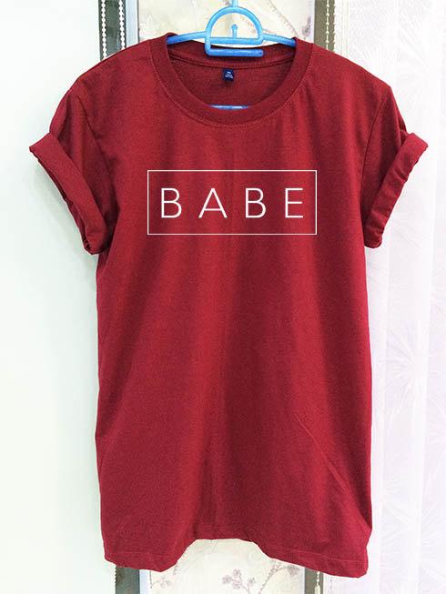 BABE Shirt ClothingTumblr Slogan Quote Crimson Red Women Tshirt Tee Short Sleeve T-Shirt-C814