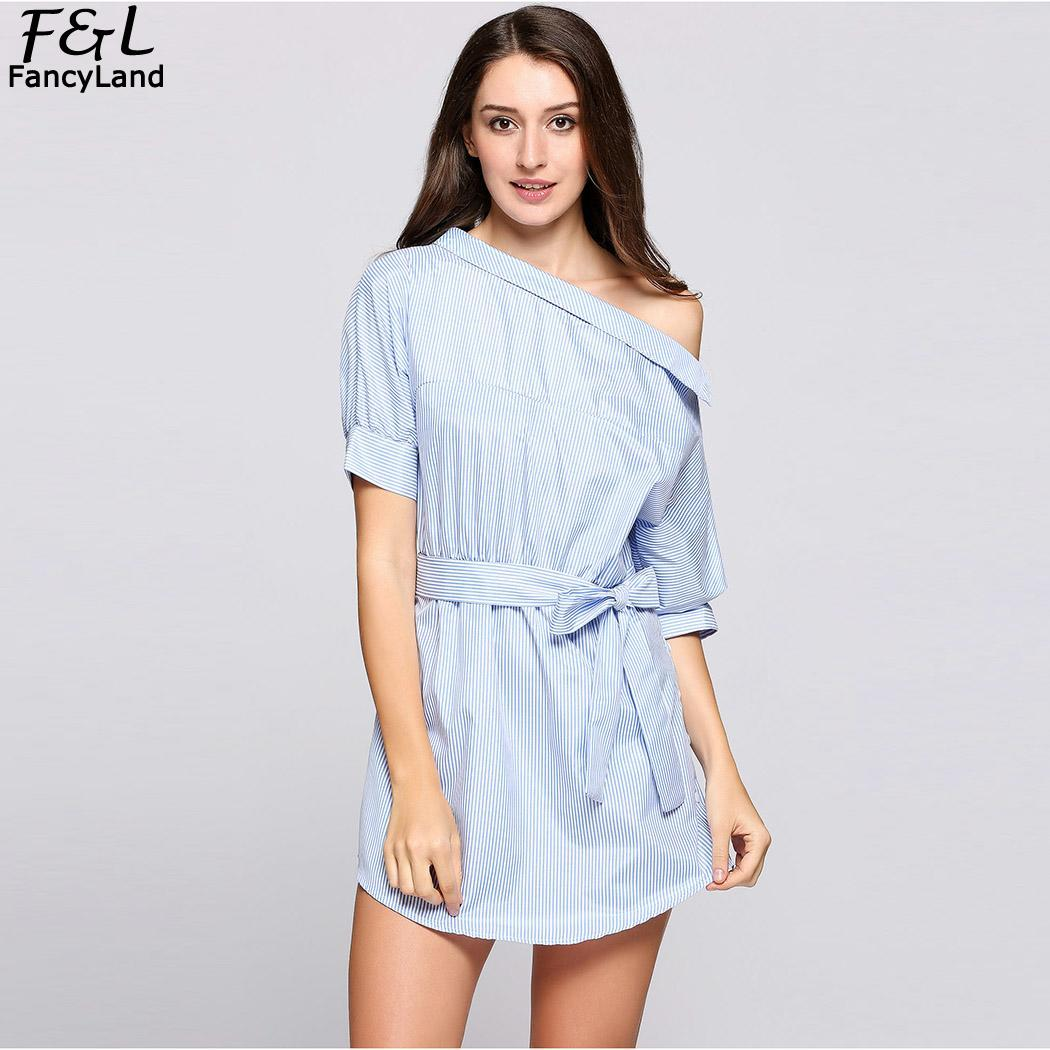 494464fb7582a Women Dress Vestidos 2018 Summer Dress Women Periwinkle One Shoulder  Stripes Belted Shirt Mini Shirt Dresses-in Dresses from Women's Clothing &  ...