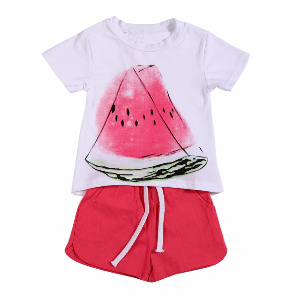 Summer Style Children Clothing Sets Baby Girls Set Kids Girl Clothes Casual Fruit Print Design