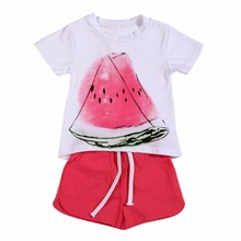 Summer Style Children Clothing Sets Baby Girls Set Kids Girl Clothes Casual Fruit Print Design Short Sleeve+Short Pant Clothing