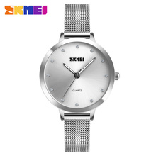цена на SKMEI Luxury 1291 Watch Women Quartz Ladies Watches Fashion Casual Silver Mesh Stainless Steel Wristwatches Relojes Para Mujer