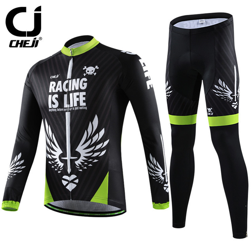 2016 Cheji Men's Leisure Long Sleeve Cycling Jersey Warm Mountain Bicycle Cycling Clothing Ropa Ciclismo Winter Bike Jersey Sets ropa ciclismo breathable mountain bike jersey long sleeve bicycle cycling clothing winter cheji men s cycling jersey sets