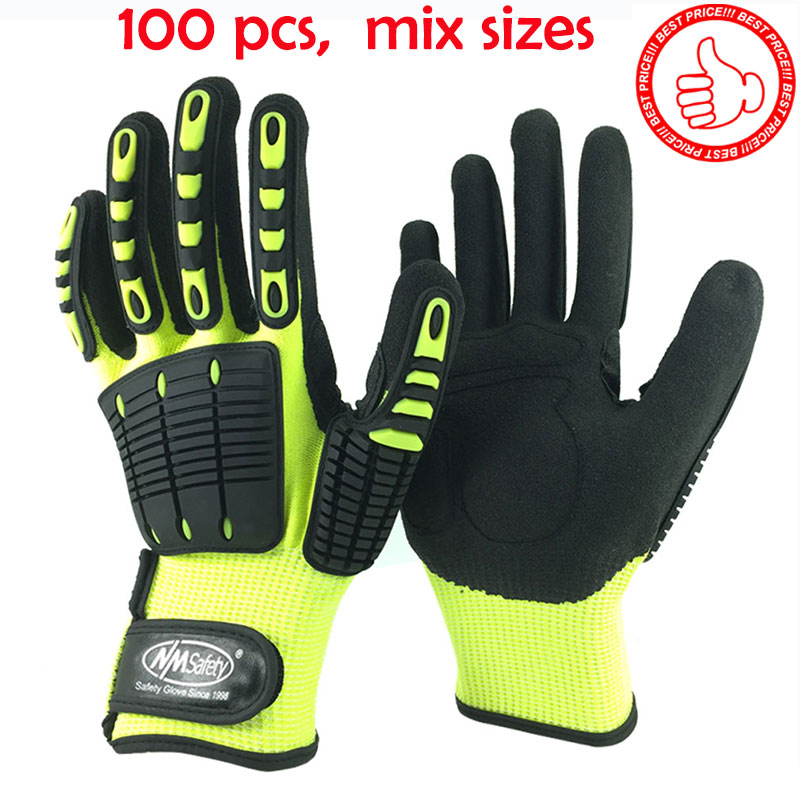NMSafety Wholesale Shock Absorbing Mechanics Impact Resistant Work Glove Anti Vibration Oil Safety Glove
