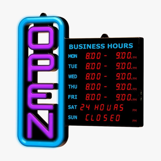 Rgb 64 Diffe Colors Business Open Sign 18x18 Digital Hours