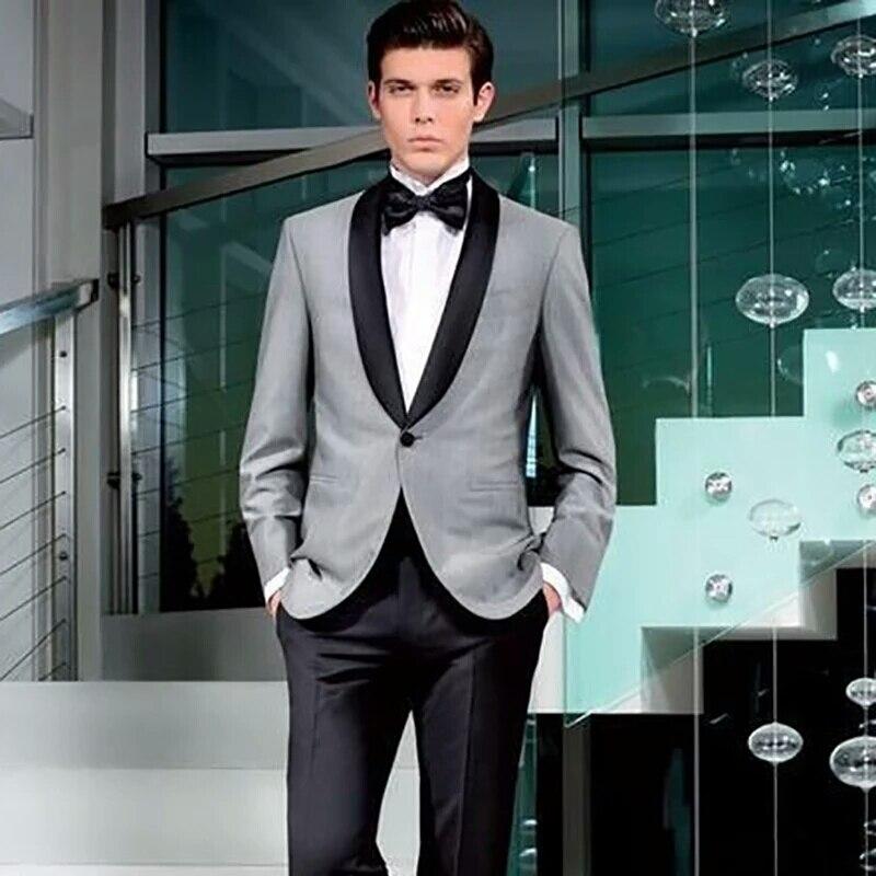 Latest Designs Grey Men's Custom Made Wedding Suit Groom Tuxedos Best Man Blazer Black Shawl Lapel Slim Terno Masculino 2Piece