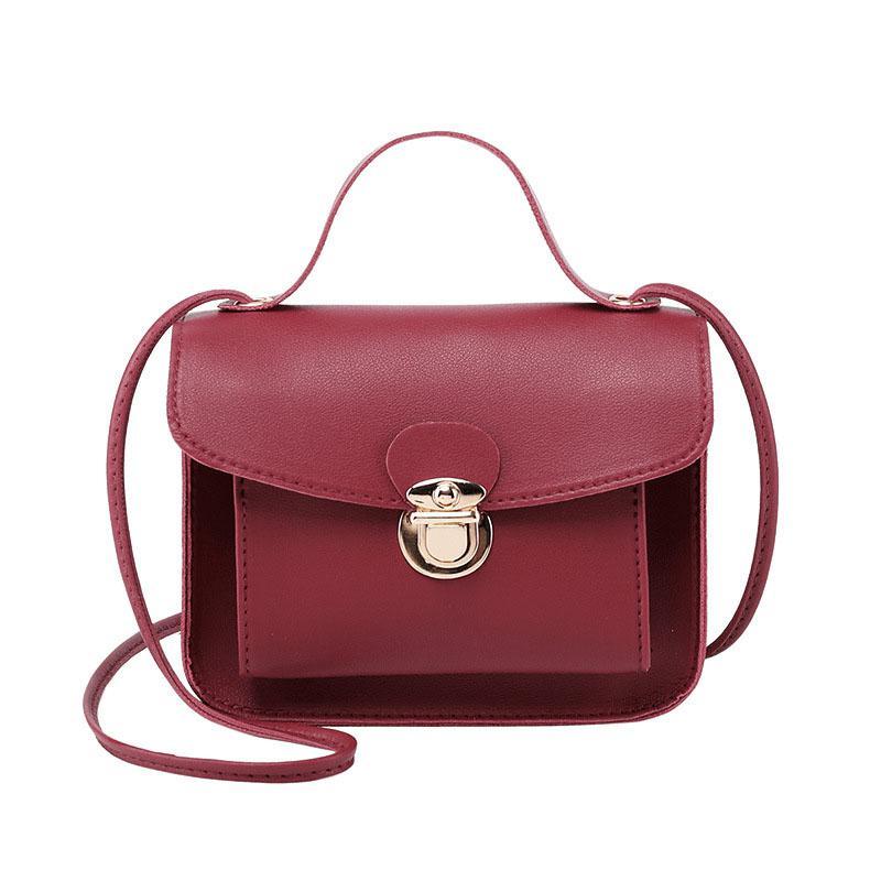 PinShang Women Casual Fashion Solid Color Single Shoulder Bag Sweet Style Mini Square Bag Leather Phone Handbag Crossbody Bag