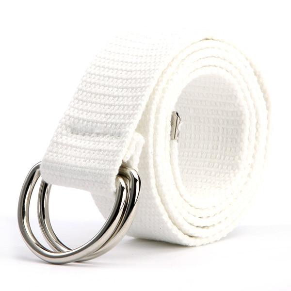 Трендовый модный ремень 10 цветов женский мужской холст двойное кольцо Пряжка повседневный Дикий тканый ремень - Цвет: Белый