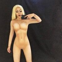 Nude Skinny Bodysuit Sexy Leggings Costume One piece Dance Performance Wear Baalmar Female Singer Stage Big Stretch Bar Jumpsuit