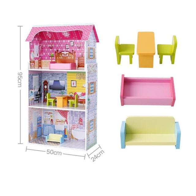 Large Wooden Pink Doll House with Doll Furniture