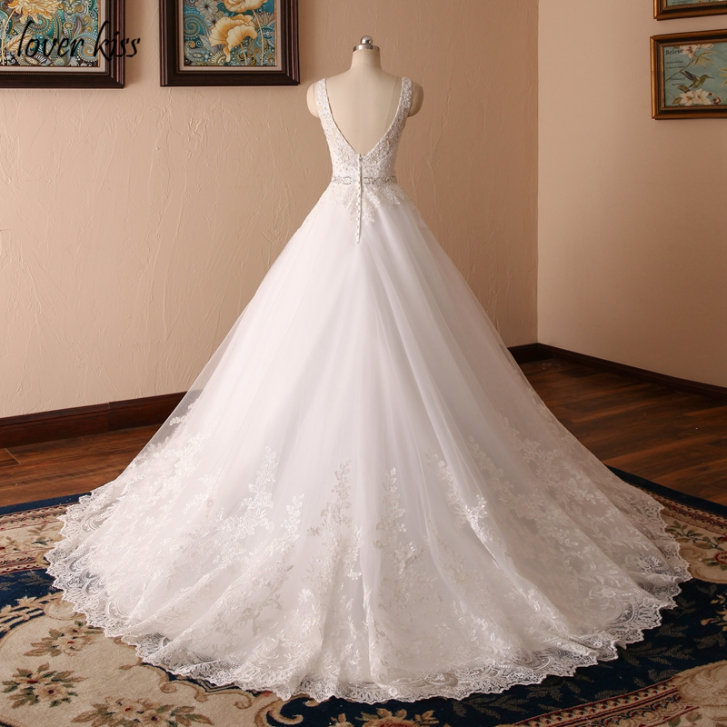 V-neck Beaded Sash Backless A-line Lace Vintage Wedding Dress