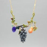 New Arrival France Les Nereides Enamel Glaze Purple Grape Women Necklace Party Jewelry