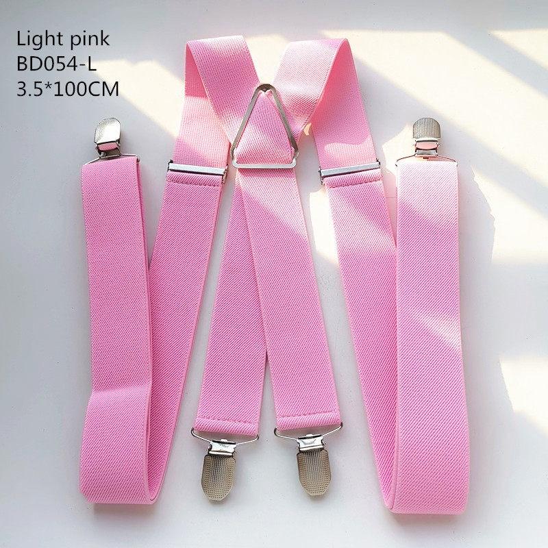 Одноцветные подтяжки унисекс для взрослых, мужские XXL, большие размеры, 3,5 см, ширина, регулируемые эластичные, 4 зажима X сзади, женские брюки, подтяжки, BD054 - Цвет: Light pink-100cm