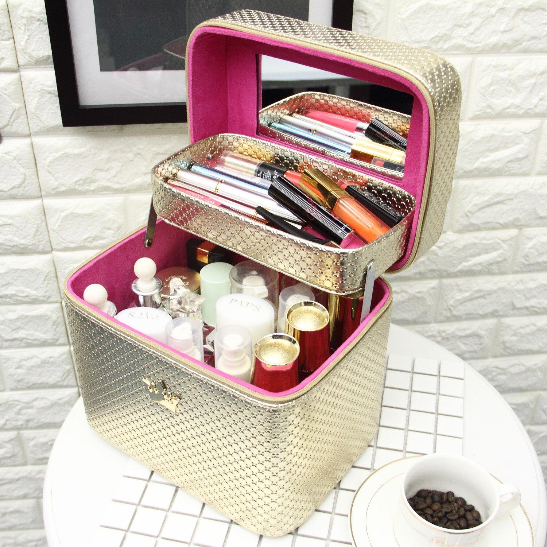Sacs à cosmétiques boîte de rangement Portable grande capacité boîte à cosmétiques dames sac de toilette étanche voyage Double pont belle