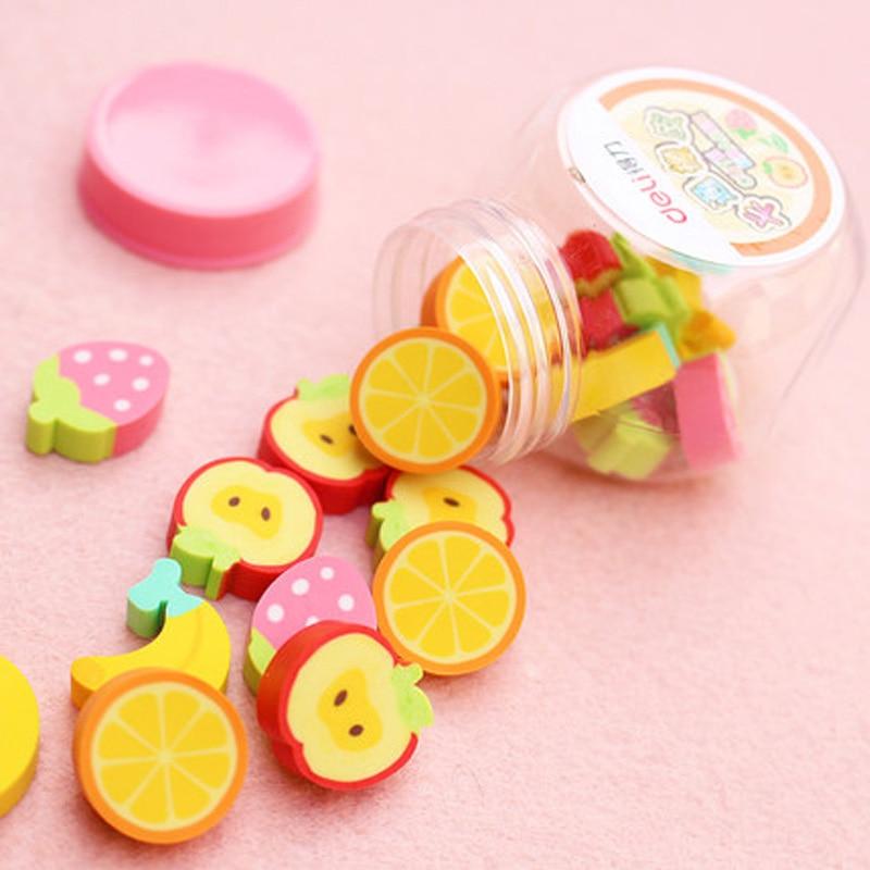 Deli Creative Cartoon Cute Children's Rubber Office Supplies 7533 Mini Bucket Student Exam Fruit Animal Set Eraser