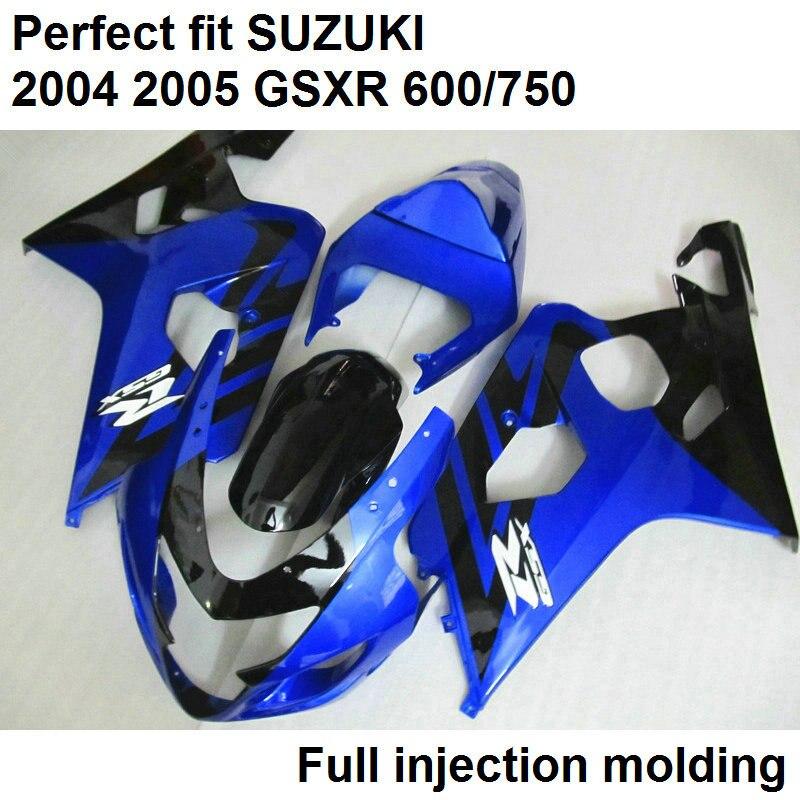 Livraison personnaliser carénage kit pour Suzuki injection GSXR600 K5 2004 2005 foncé bleu noir carénages mis GSXR600/750 04 05 WN125