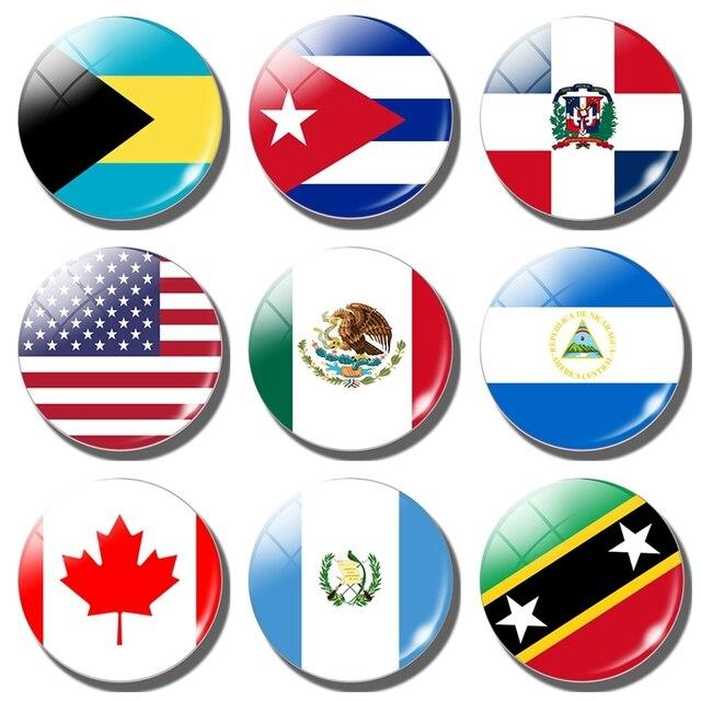 Imán de bandera para frigorífico de Estados Unidos, Canadá, Canadá, Cuba, Guatemala, México