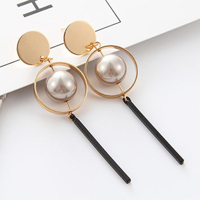 2017 New Earings Fashion Jewelry Vintage Hollow Circular Sequined Pearls Long Dr