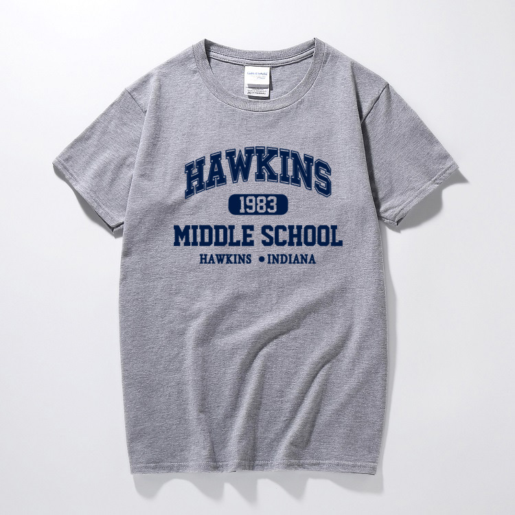 Stranger things hawkins high middle school funny t shirt men casual plus size jersey joggers tshirt homme strange thing t-shirt