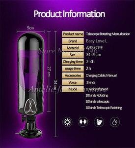 Image 2 - Masculino elétrico masturbador copo rotação telescópica voz automática sexo máquina blowjob vibrador oral mãos livres brinquedos sexuais para homem