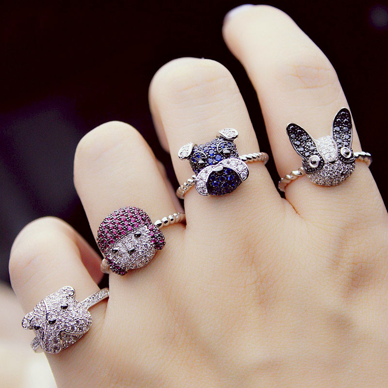 Luxury white Gold Color Panda Or Pet Dog Rings