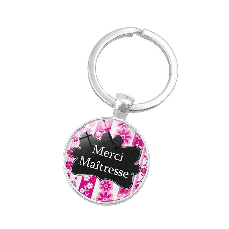 Merci Maitresse Glass Cabochon Keychain alloy Silver Color cadeau maitresse Car Keychain Ring Holder for women men K00062