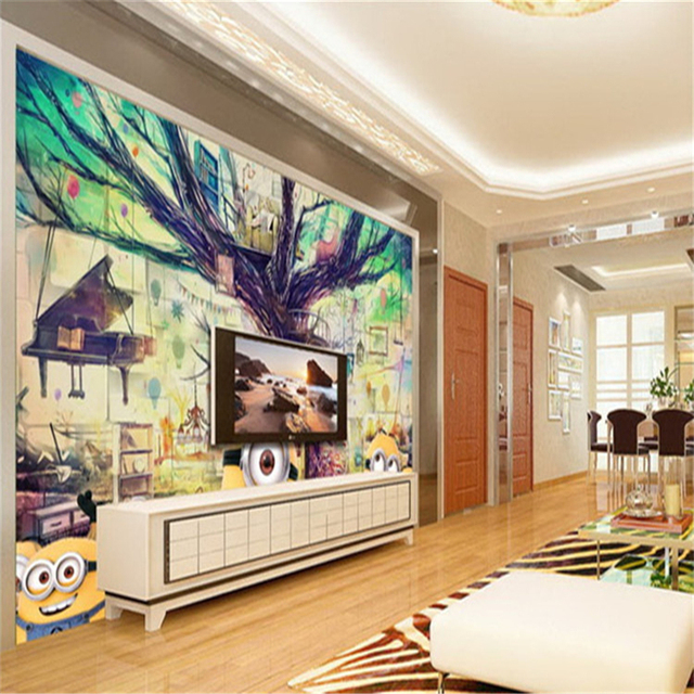 Beibehang People Tree House 3D Animation Mural Wallpaper Childrens Room Living TV Background Papel De