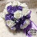 Nuevo 2016 Romantic Purple Soborno Novia Que Sostiene Las Flores de La Boda Ramo de Flores de La Boda Favores