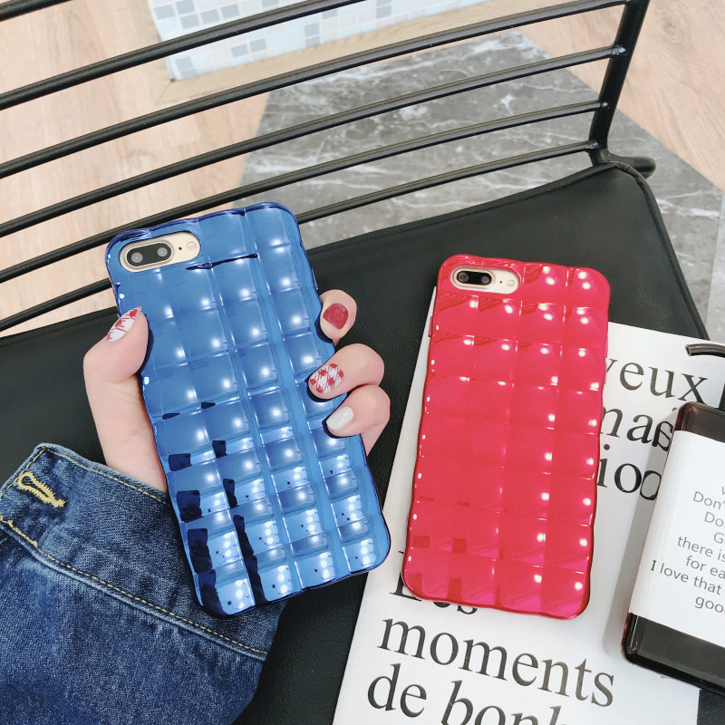 Sparkle Electroplate Square Grid Silicone Rubber Case for iPhone X 10 7 8 6 6s Plus Ultra Slim Soft TPU Cover Candy Colors coque