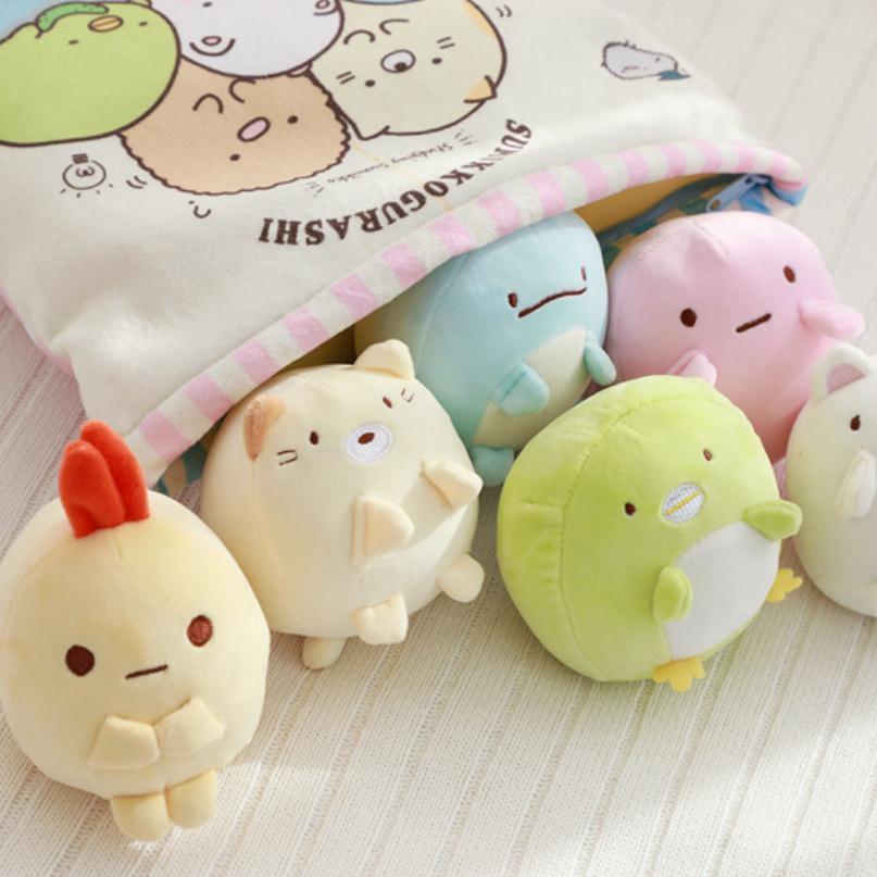 Un sac de Sumikko Gurashi peluche 6 pièces Animation japonaise Sumikko Gurashi oreiller doux coin Bio dessin animé poupée pour enfants enfants